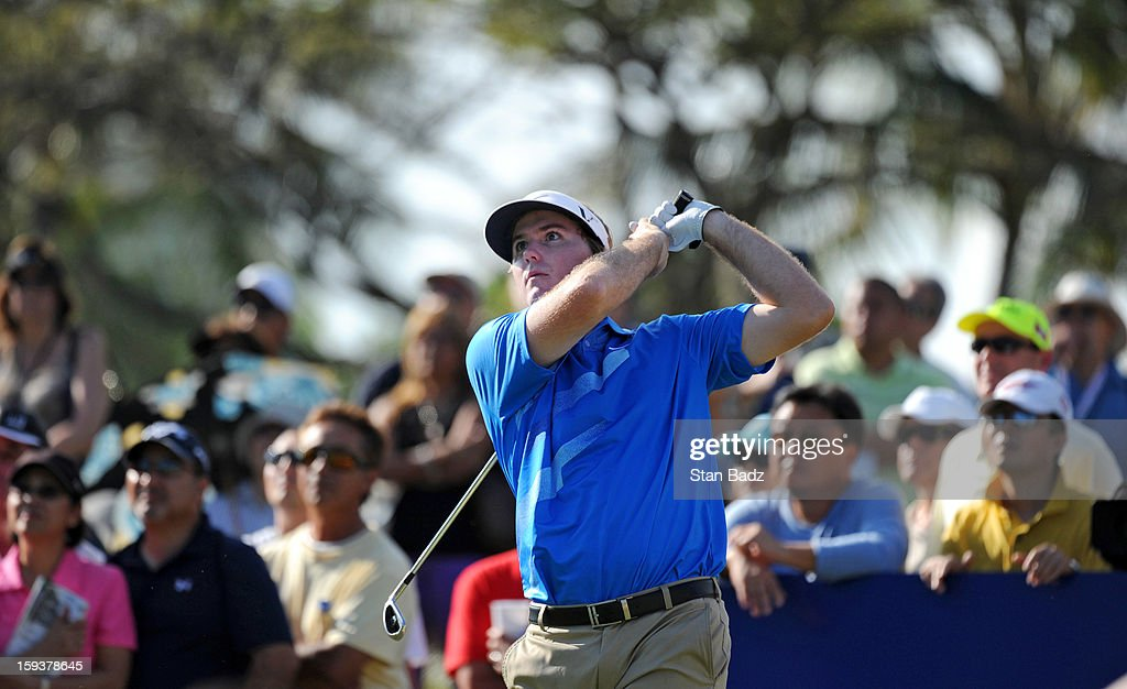 Russell Henley hits a tee shot on the 11th hole during the third round of the Sony Open in Hawaii at Waialae Country Club on January 12, 2013 in Honolulu, Hawaii.