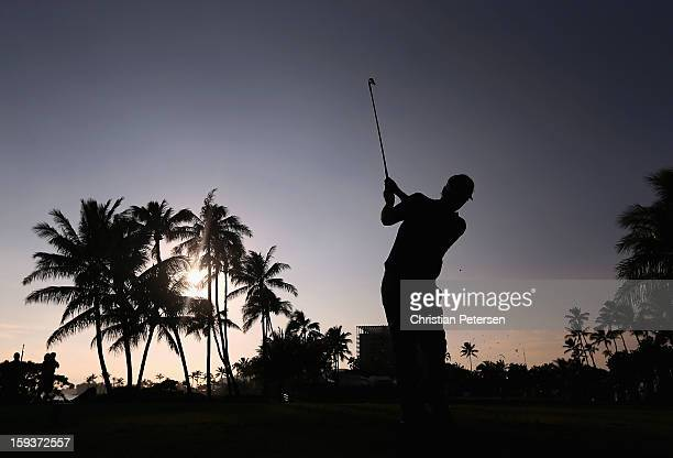 Russell Henley hits a tee shot on the 17th hole during the third round of the Sony Open in Hawaii at Waialae Country Club on January 12 2013 in...