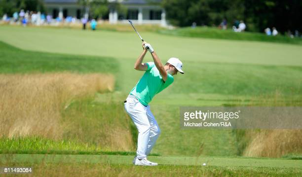Russell Henley hits his drive on the fifth hole during the fourth and final round of The Greenbrier Classic held at The Old White TPC on July 9 2017...