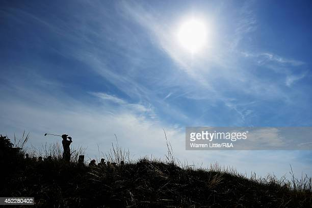 Russell Henley of the United States hits his tee shot on the fourth hole during the first round of The 143rd Open Championship at Royal Liverpool on...