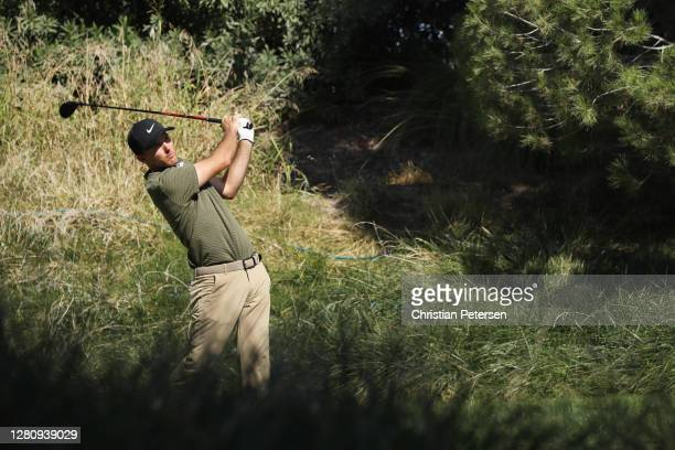 Russell Henley of the United States plays his shot from the second tee during the final round of The CJ Cup @ Shadow Creek on October 18, 2020 in Las...