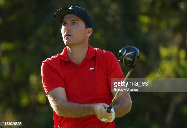 Russell Henley of the United States plays his shot from the seventh tee during the second round of the Mayakoba Golf Classic at El Camaleon Mayakoba...