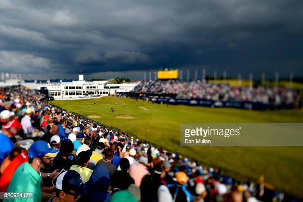 Russell Henley of the United States putts on the 18th green during the third round of the 146th Open Championship at Royal Birkdale on July 22 2017...