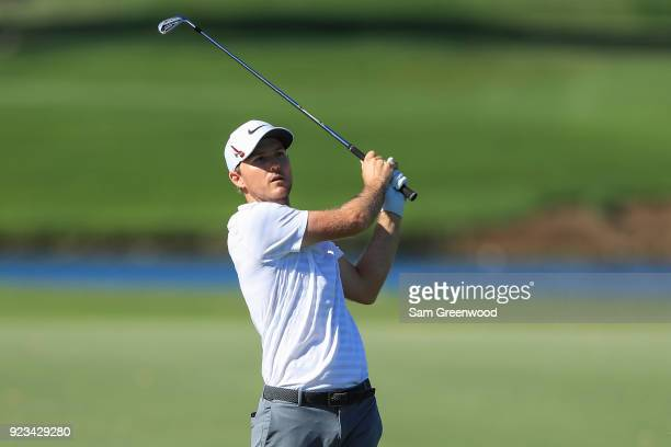 Russell Henley plays a shot on the ninth fairway during the second round of the Honda Classic at PGA National Resort and Spa on February 23 2018 in...
