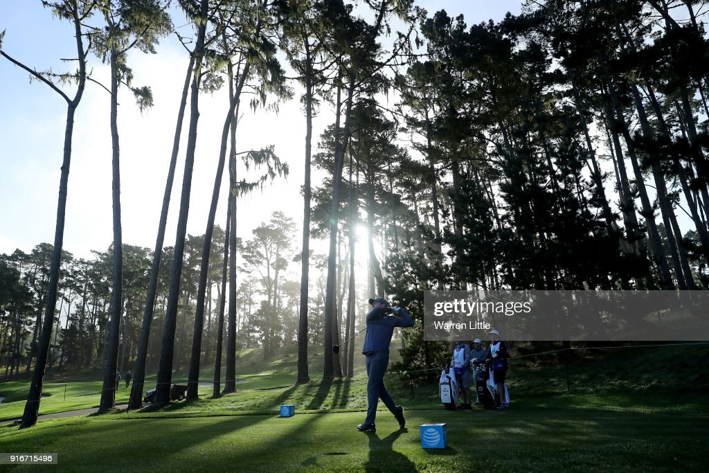 Russell Henley plays his shot from the 11th tee during Round Three of the AT&T Pebble Beach Pro-Am at Spyglass Hill Golf Course on February 10, 2018 in Pebble Beach, California.