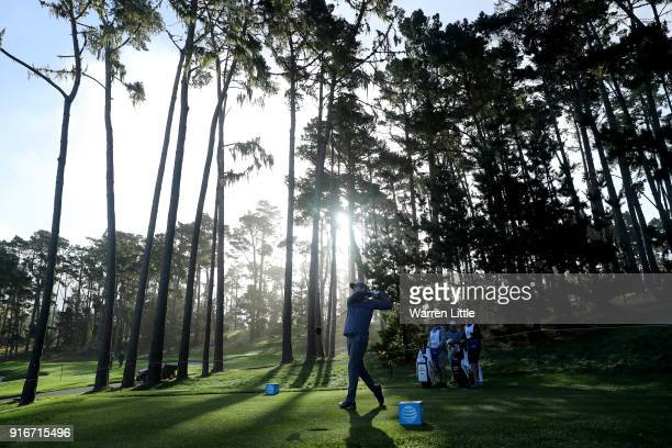 Russell Henley plays his shot from the 11th tee during Round Three of the ATT Pebble Beach ProAm at Spyglass Hill Golf Course on February 10 2018 in...