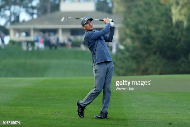 Russell Henley plays his shot on the 10th hole during Round Three of the ATT Pebble Beach ProAm at Spyglass Hill Golf Course on February 10 2018 in...