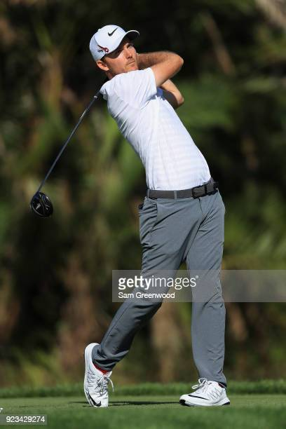 Russell Henley plays his tee shot on the eighth hole during the second round of the Honda Classic at PGA National Resort and Spa on February 23 2018...