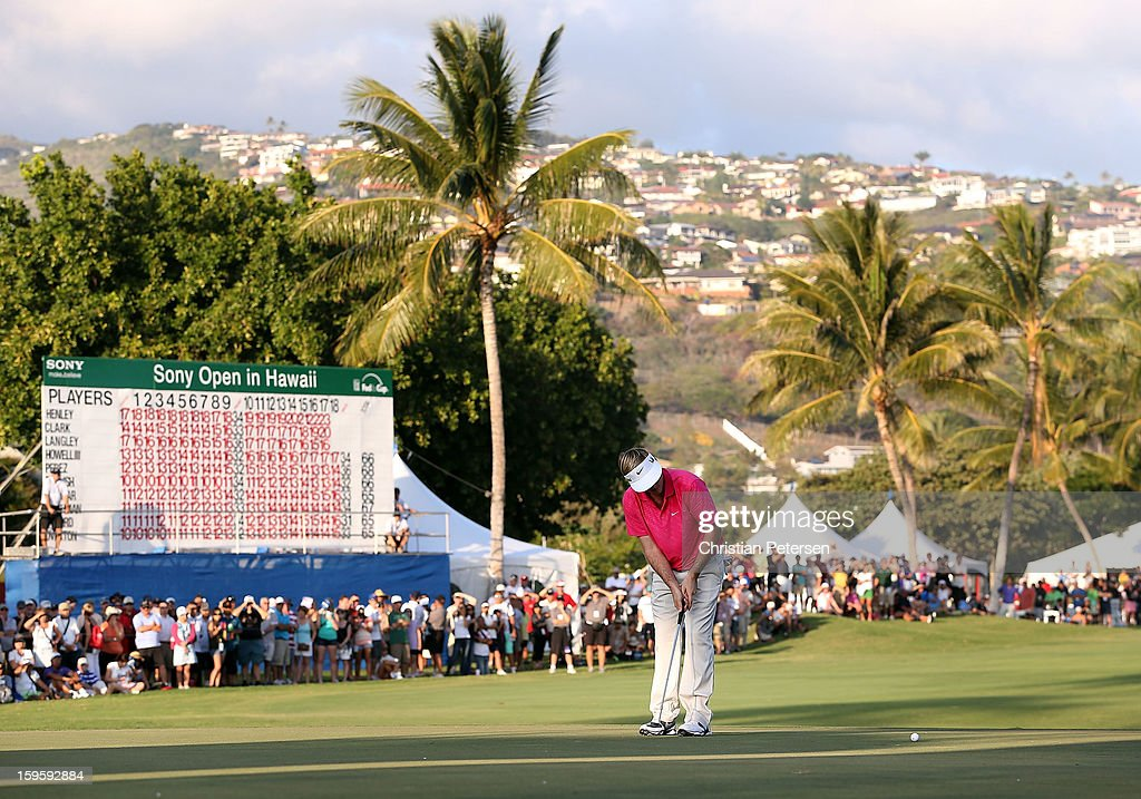 Russell Henley putts for birdie on the 18th hole green to win the Sony Open in Hawaii following the final round at Waialae Country Club on January 13, 2013 in Honolulu, Hawaii.
