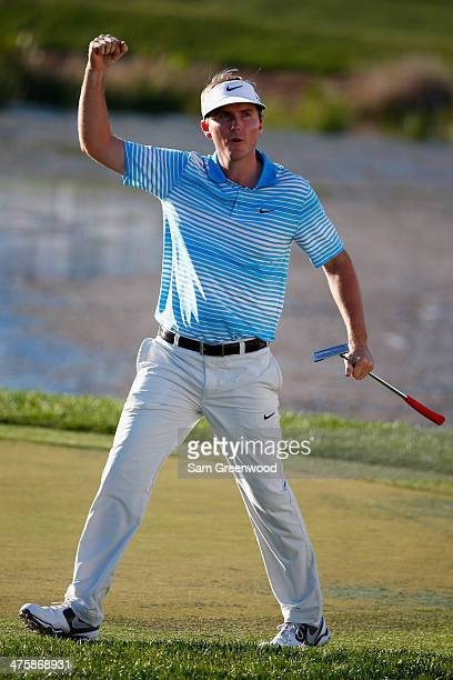 Russell Henley reacts after making birdie on the 17th hole during the third round of The Honda Classic at PGA National Resort and Spa on March 1 2014...