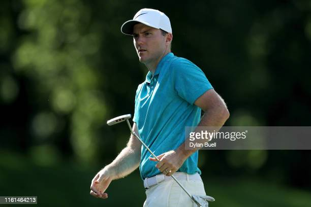 Russell Henley reacts after missing a putt on the ninth green during the first round of the John Deere Classic at TPC Deere Run on July 11 2019 in...