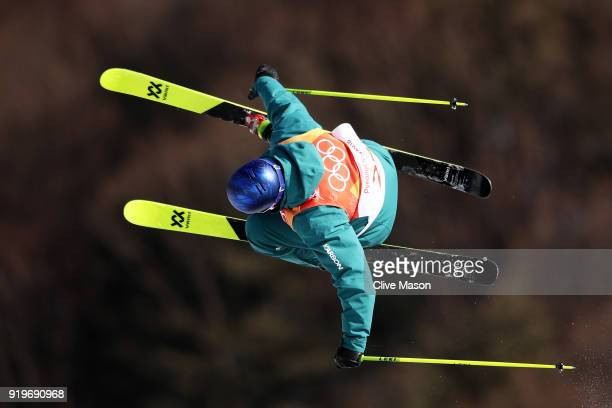 Russell Henshaw of Australia competes during the Freestyle Skiing Men's Ski Slopestyle qualification on day nine of the PyeongChang 2018 Winter...