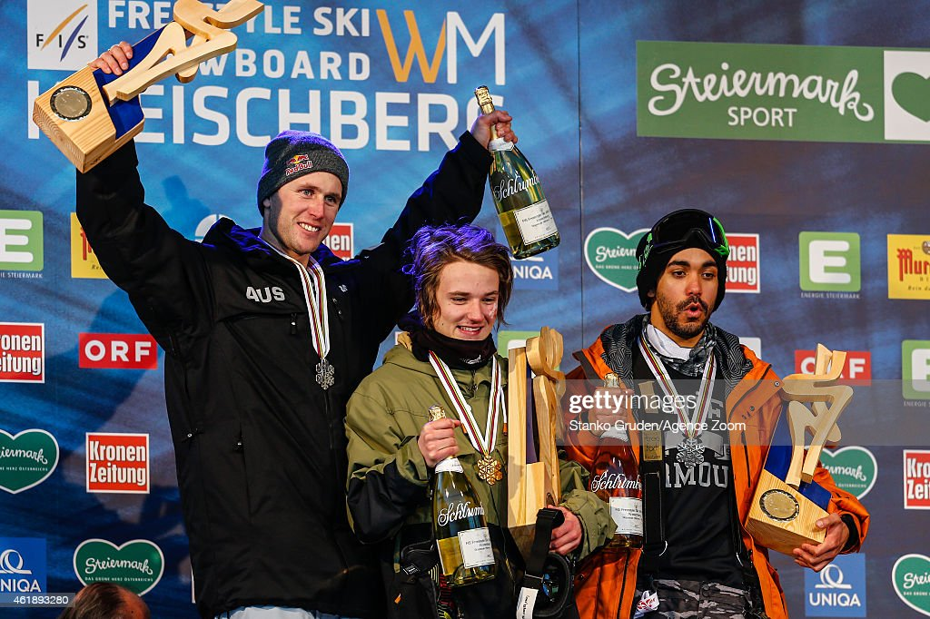 Russell Henshaw of Australia takes 2nd place, Fabian Boesch of Switzerland takes 1st place, Noah Wallace of the USA takes 3rd place during the FIS Freestyle Ski World Championships Men's and Women's Slopestyle on January 21, 2015 in Kreischberg, Austria.