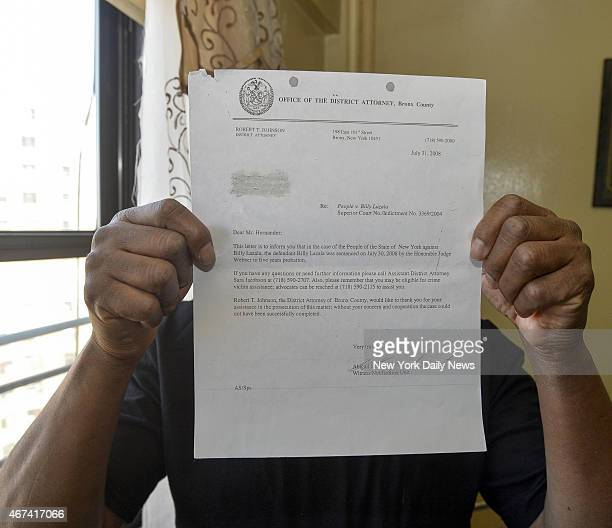Russell Hernandez who got $1 million in a settlement hold letter from Bronx DA thanking him for cooperation Hernandez was held at Rikers Island for...