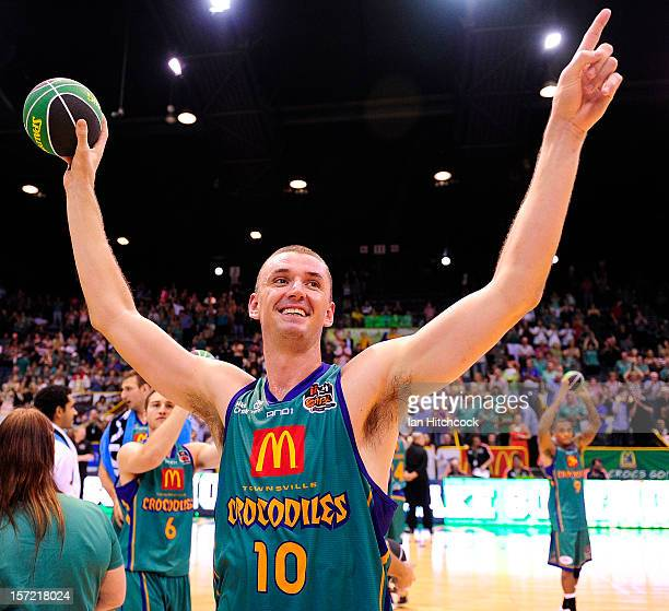 Russell Hinder of the Crocodiles acknowledges the crowd after winning the round nine NBL match between the Townsville Crocodiles and the Adelaide...