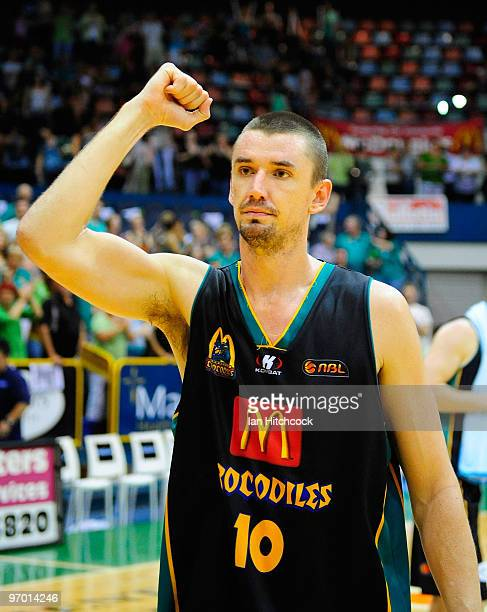 Russell Hinder of the Crocodiles acknowledges the crowd after winning game two of the NBL semi final series between the Townsville Crocodiles and the...