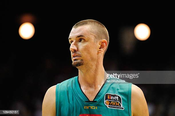 Russell Hinder of the Crocodiles looks on during the round 20 NBL match between the Townsville Crocodiles and the Sydney Kings at Townsville...