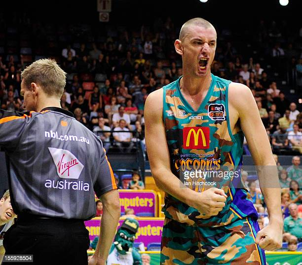 Russell Hinder of the Crocodiles reacts during the round six NBL match between the Townsville Crocodiles and the New Zealand Breakers at Townsville...