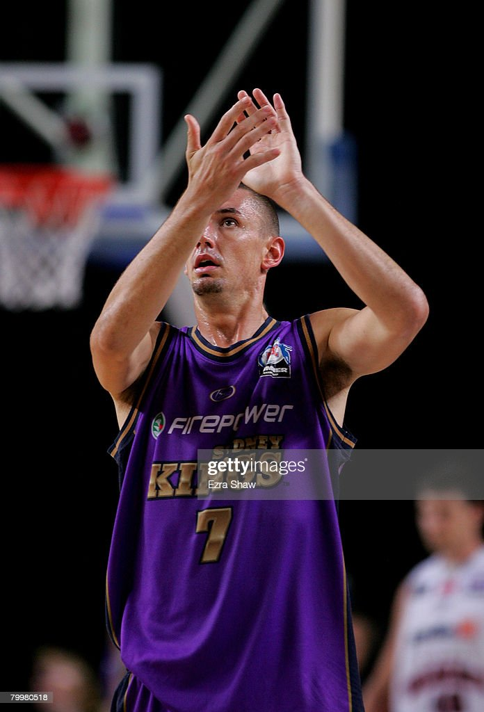 Russell Hinder of the Kings celebrates after winning game one of the NBL Semi Final Series between the Sydney Kings and the Perth Wildcats at Sydney Entertainment Centre on February 25, 2008 in Sydney, Australia.