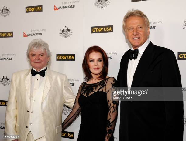 Russell Hitchcock and Graham Russell of AirSupply and Priscilla Presley arrive for The 9th annual G'Day USA Los Angeles Black Tie Gala at the Grand...
