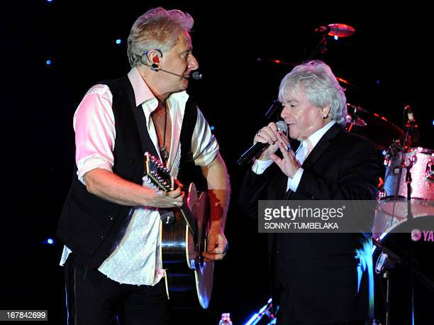 Russell Hitchcock and Graham Russell of AustralianBritish music duo Air Supply perform onstage during their 2013 World Tour in Kuta Indonesia's...