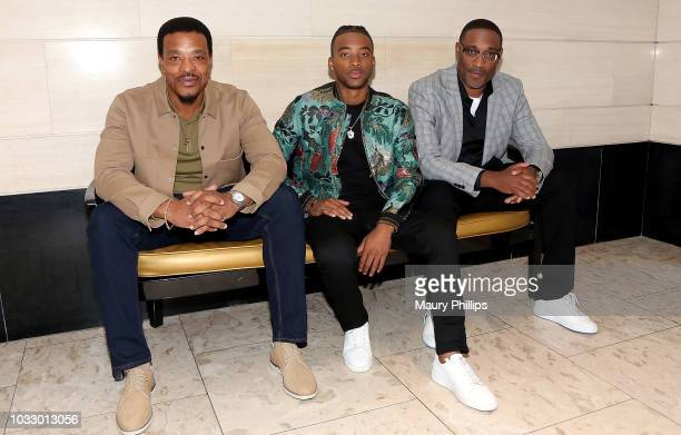Russell Hornsby Algee Smith and George Tillman attend the screening of George Tillman's 'The Hate U Give' presented by ICON MANN and Vibe Magazine at...