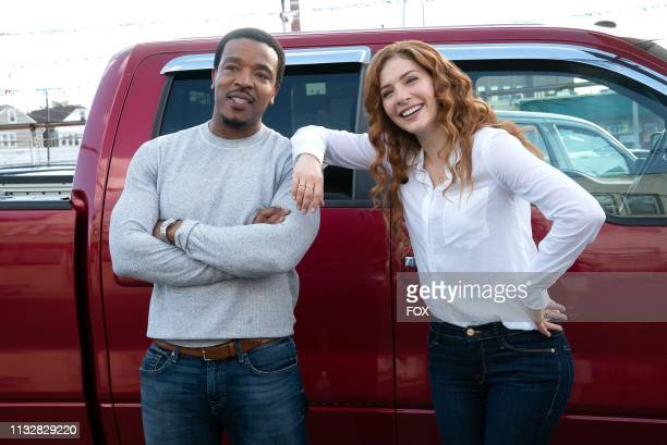 Russell Hornsby and Rachelle Lefevre behind the scenes in the The Burden of Truth episode of PROVEN INNOCENT airing Friday Feb 22 on FOX