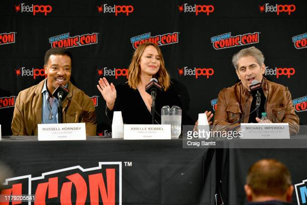 Russell Hornsby Arielle Kebbel and Michael Imperioli speak onstage during the Lincoln Rhyme Hunt for the Bone Collector panel at New York Comic Con...