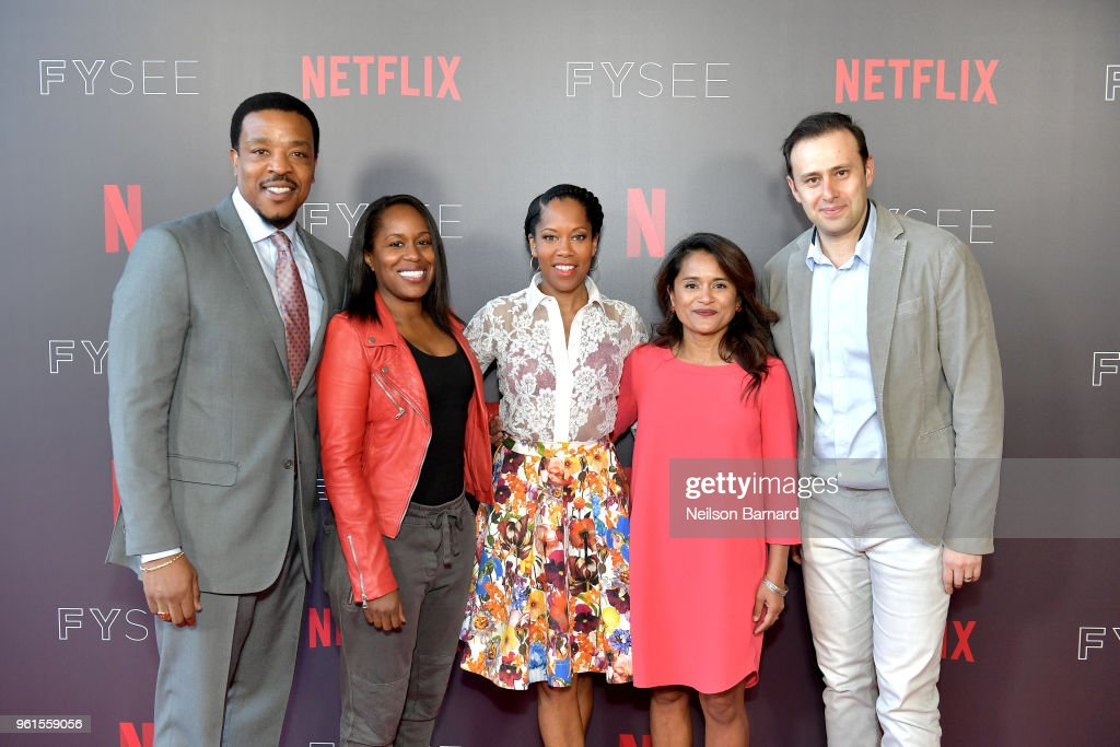 Russell Hornsby, Shalisha Francis, Regina King, Veena Sud, and Alex Reznik attend the 'Seven Seconds' panel at Netflix FYSEE on May 22, 2018 in Los Angeles, California.