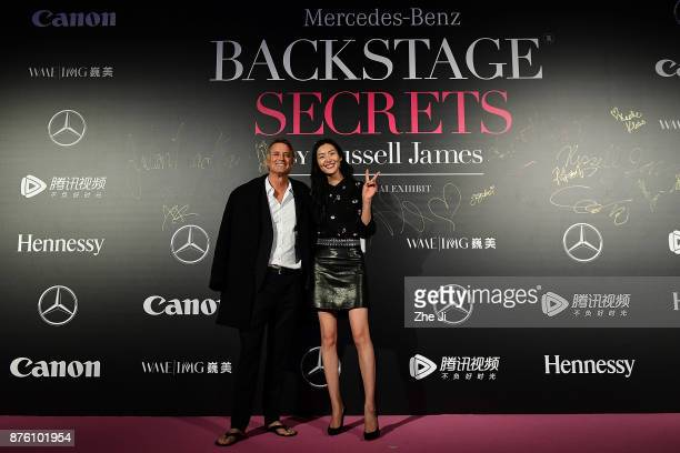 Russell James and Model Liu Wen attend the MercedesBenz 'Backstage Secrets' By Russell James Book Launch Shanghai Exhibit Opening Party at Harbor...