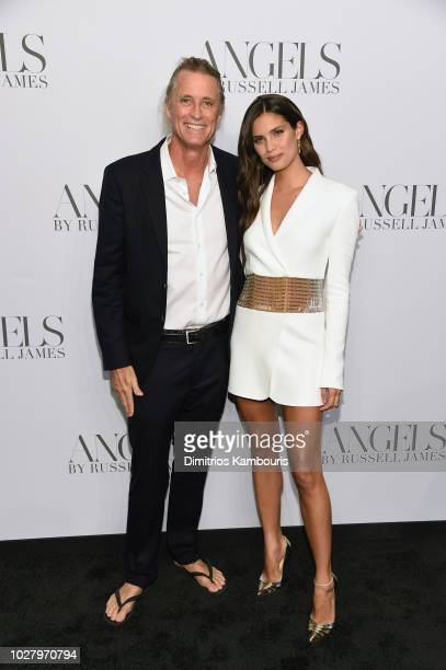 Russell James and Sara Sampaio attend the 'ANGELS' by Russell James book launch and exhibit hosted by Cindy Crawford and Candice Swanepoel at Stephan...