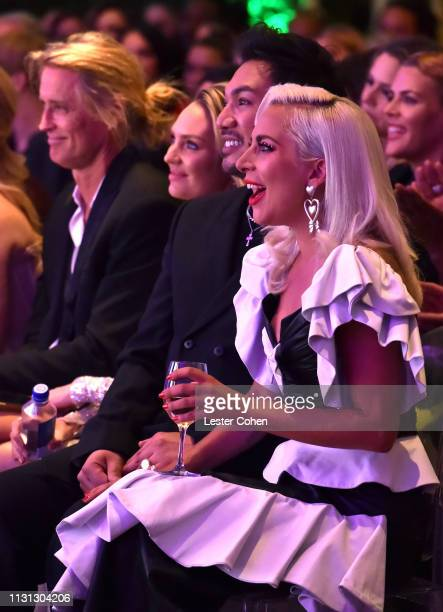 Russell James Candice Swanepoel Frederic Aspiras and Lady Gaga with FIJI Water at the 5th Annual Fashion Los Angeles Awards on March 17 2019 in Los...