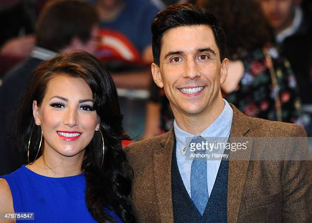 Russell Kane and Lindsey Cole attend the UK Film Premiere of Captain America The Winter Soldier at Westfield London on March 20 2014 in London England