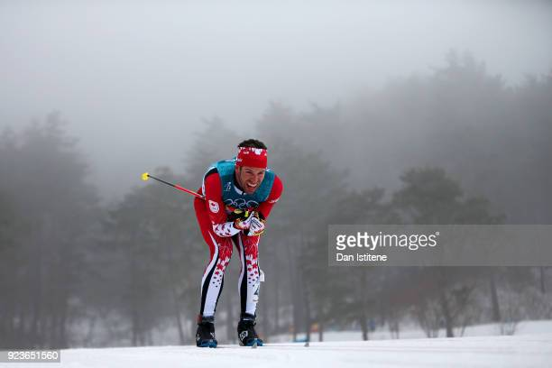 Russell Kennedy of Canada competes during the Men's 50km Mass Start Classic on day 15 of the PyeongChang 2018 Winter Olympic Games at Alpensia...