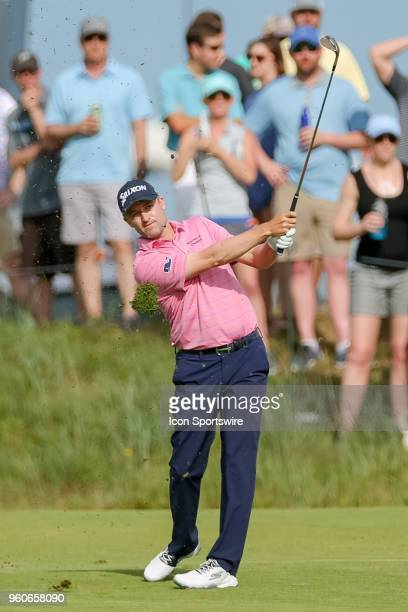 Russell Knox hits his approach shot to during the final round of the 50th annual ATT Byron Nelson on May 20 2018 at Trinity Forest Golf Club in...
