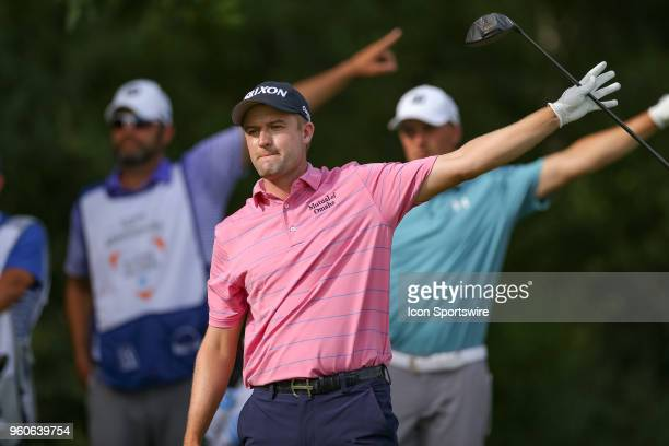 Russell Knox hits his tee shot left on during the final round of the 50th annual ATT Byron Nelson on May 20 2018 at Trinity Forest Golf Club in...