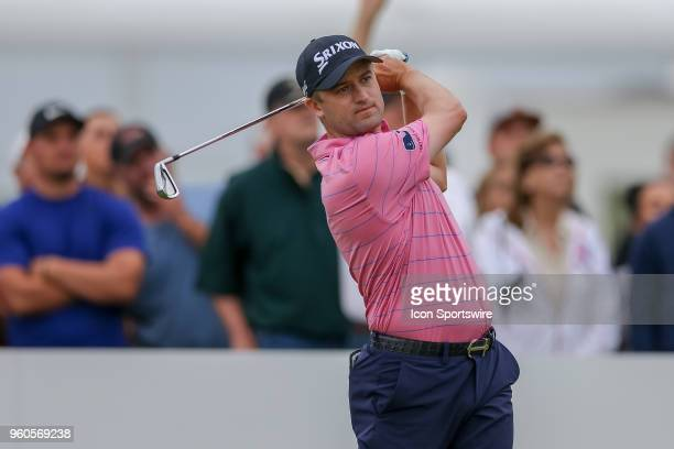 Russell Knox hits his tee shot on during the final round of the 50th annual ATT Byron Nelson on May 20 2018 at Trinity Forest Golf Club in Dallas TX