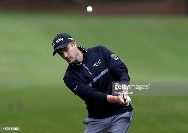 Russell Knox hits his third shot on the first hole during the first round of the RBC Heritage at Harbour Town Golf Links on April 16 2015 in Hilton...