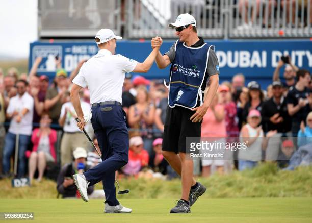 Russell Knox of Scotland celebrates after a birdie on the first play off hole against Ryan Fox of Neew Zealand during the final round of the Dubai...