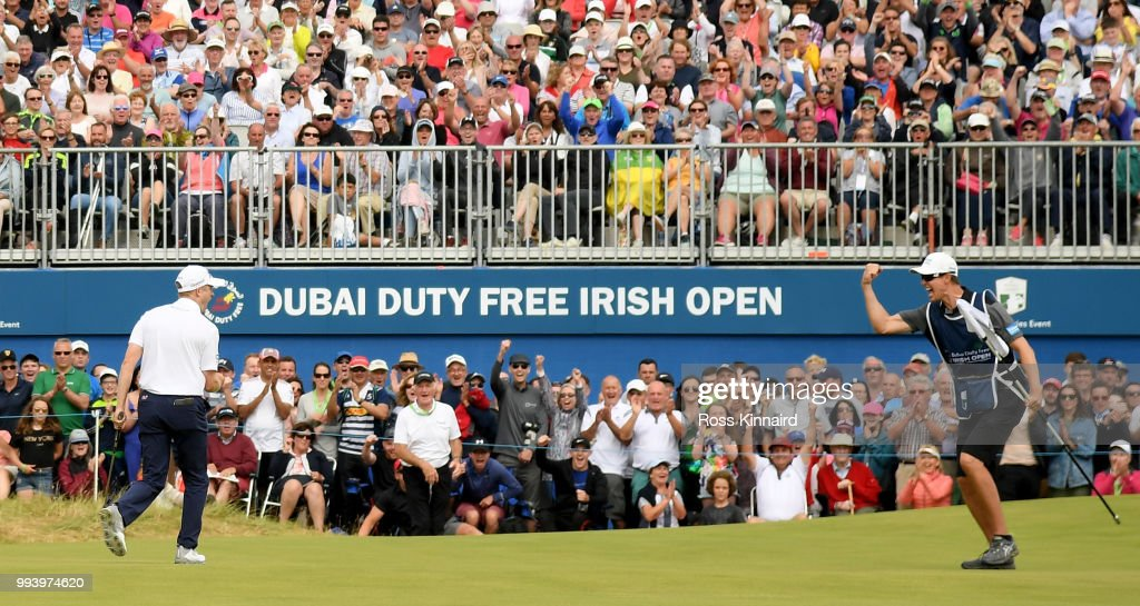 Russell Knox of Scotland celebrates his birdie on the 18th green during the final round of the Dubai Duty Free Irish Open at Ballyliffin Golf Club on July 8, 2018 in Donegal, Ireland.