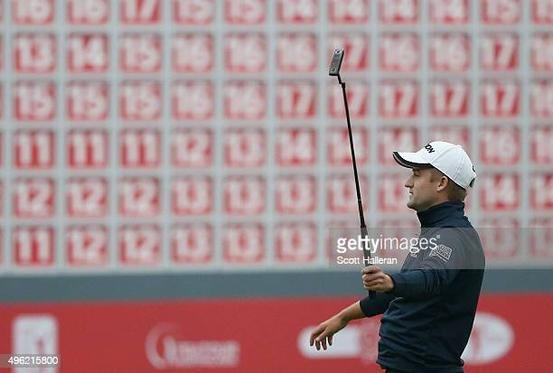 Russell Knox of Scotland celebrates his twostroke victory on the 18th green after the final round of the WGC HSBC Champions at the Sheshan...