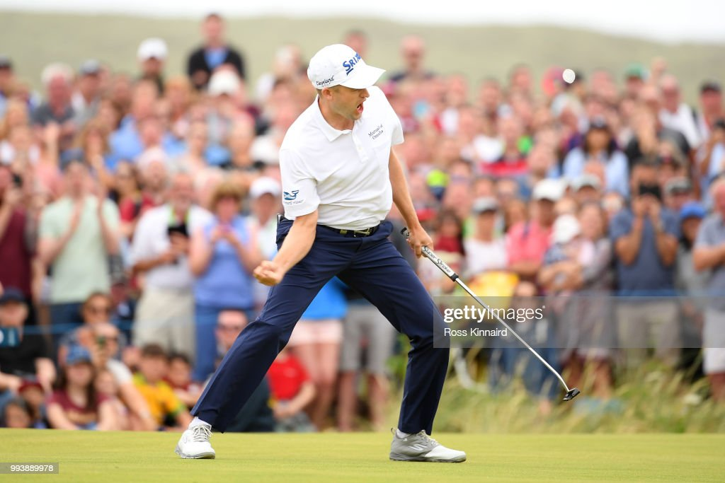 Russell Knox of Scotland celebrates holing a putt for victory on the 18th green during a playoff at the end of the final round of the Dubai Duty Free Irish Open at Ballyliffin Golf Club on July 8, 2018 in Donegal, Ireland.