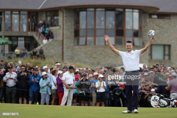 Russell Knox of Scotland celebrates winning during Day Four of the Dubai Duty Free Irish Open at Ballyliffin Golf Club on July 8 2018 in Donegal...