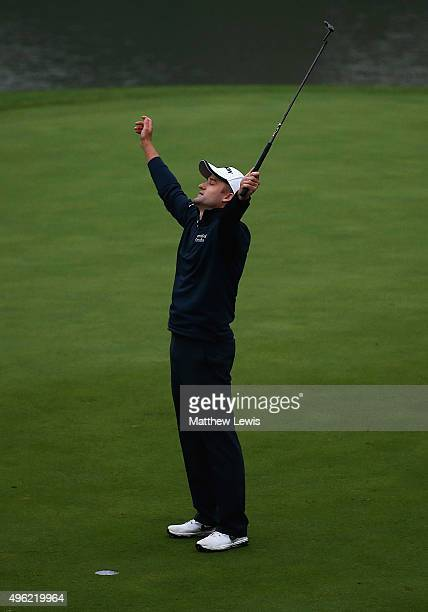 Russell Knox of Scotland celebrates winning the the WGC HSBC Champions at Sheshan International Golf Club on November 8 2015 in Shanghai China
