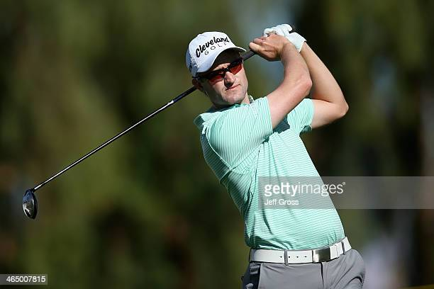 Russell Knox of Scotland hits a tee shot on the 9th hole on the Arnold Palmer Private Course at PGA West during the first round of the Humana...