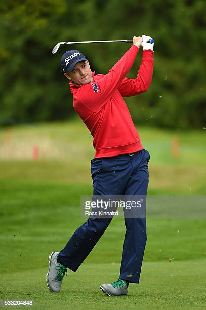 Russell Knox of Scotland hits his 2nd shot on the 17th hole during the third round of the Dubai Duty Free Irish Open Hosted by the Rory Foundation at...