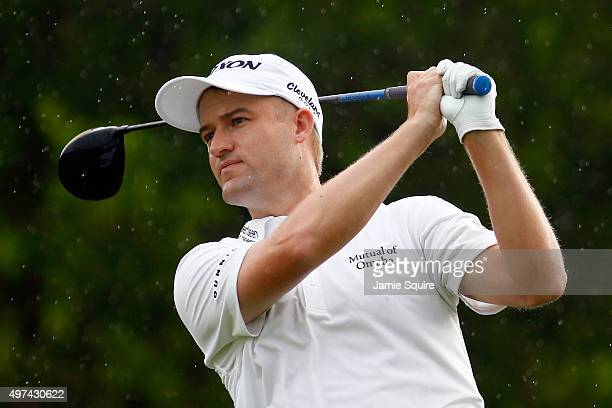 Russell Knox of Scotland hits his first shot on the 17th hole during the final round of the OHL Classic at the Mayakoba El Camaleon Golf Club on...