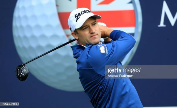 Russell Knox of Scotland hits his tee shot on the 7th hole during the pro am ahead of the British Masters at Close House Golf Club on September 27...