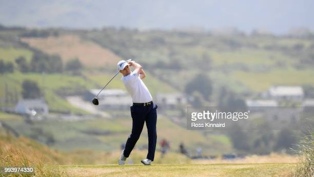 Russell Knox of Scotland on the 11th tee during the final round of the Dubai Duty Free Irish Open at Ballyliffin Golf Club on July 8, 2018 in...