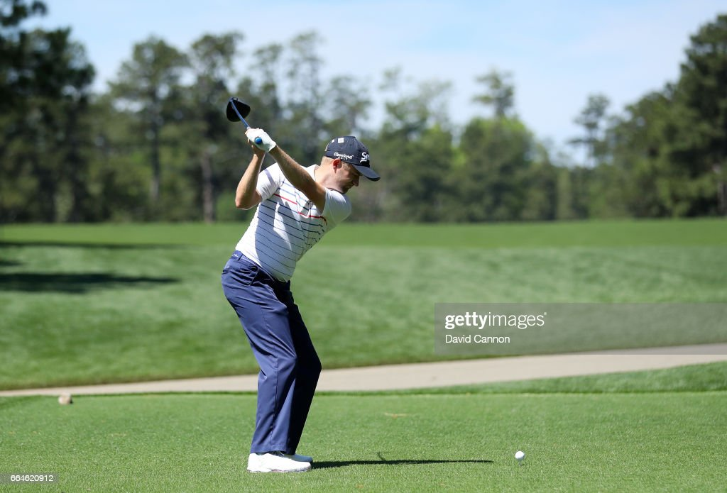 Russell Knox of Scotland plays a shot during a practice round prior to the start of the 2017 Masters Tournament at Augusta National Golf Club on April 4, 2017 in Augusta, Georgia.